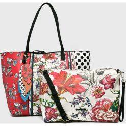 Desigual - Torebka. Szare torebki klasyczne damskie marki Desigual, z materiału, duże. Za 349,90 zł.