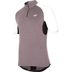 Koszulka rowerowa męska RKM001 - ciepły jasny szary. Szare odzież rowerowa męska 4f, m, z nadrukiem, z elastanu, z dekoltem na plecach. Za 99,99 zł.