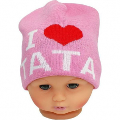 Czapka niemowlęca z napisem tata CZ 160E. Różowe czapeczki niemowlęce Proman, z napisami. Za 30,75 zł.