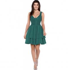 Imprezowa Zwiewna Sukienka z Koronką - Zielona. Zielone sukienki balowe Molly.pl, na imprezę, l, w jednolite wzory, z koronki, z dekoltem na plecach, na ramiączkach. Za 289,90 zł.