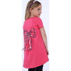 Tunika dziewczęca z kokardą amarantowa NDZ8232. Czerwone sukienki dziewczęce marki Fasardi. Za 39,00 zł.
