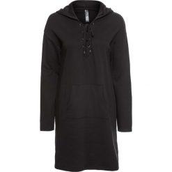 Sukienka dresowa ze sznurowaniem bonprix czarny. Szare sukienki dresowe marki bonprix, melanż, z kapturem, z długim rękawem, maxi. Za 109,99 zł.