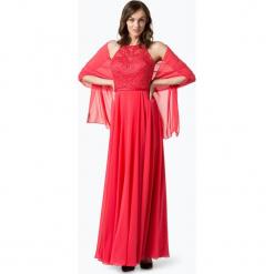 Luxuar Fashion - Damska sukienka wieczorowa z etolą, czerwony. Czerwone sukienki koktajlowe Luxuar Fashion, z haftami, z satyny, z długim rękawem. Za 699,95 zł.