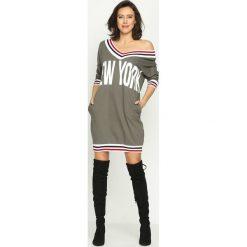 Bluzy rozpinane damskie: Khaki Bluza New York