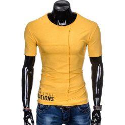 T-SHIRT MĘSKI Z NADRUKIEM S979 - ŻÓŁTY. Zielone t-shirty męskie z nadrukiem marki Ombre Clothing, na zimę, m, z bawełny, z kapturem. Za 29,00 zł.
