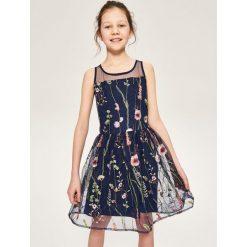 Sukienki dziewczęce z falbanami: Haftowana sukienka - Granatowy