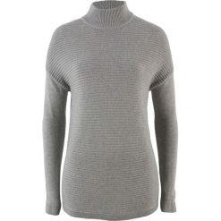 Sweter ze stójką bonprix jasnoszary melanż. Szare swetry klasyczne damskie bonprix, ze stójką. Za 49,99 zł.
