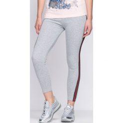 Spodnie damskie: Szaro-Zielone Legginsy Simple Look