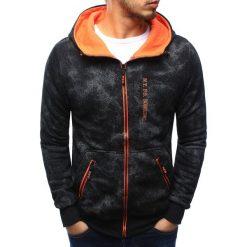 Bluzy męskie: Bluza męska rozpinana czarna z kapturem (bx3209)