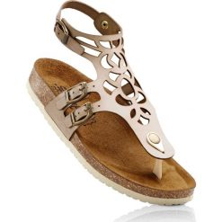 Wygodne sandały skórzane bonprix beżowy. Brązowe rzymianki damskie bonprix, w paski. Za 79,99 zł.