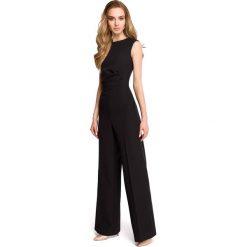 Odzież damska: Czarny Elegancki Kombinezon z Szerokimi Nogawkami