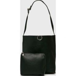 Answear - Torebka. Czarne torebki klasyczne damskie marki ANSWEAR, w paski, z materiału, duże. W wyprzedaży za 119,90 zł.