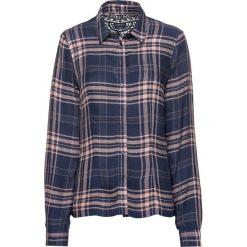 Bluzka z koronką bonprix głęboki niebieski - stary jasnoróżowy w kratę. Czarne bluzki koronkowe marki bonprix. Za 49,99 zł.