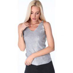 Bluzki damskie: Bluzka na ramiączka metalizowana jasnoszara 3700