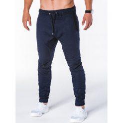 SPODNIE MĘSKIE JOGGERY P713 - GRANATOWE. Czarne joggery męskie marki Ombre Clothing, m, z bawełny, z kapturem. Za 59,00 zł.