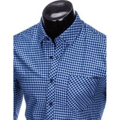 KOSZULA MĘSKA W KRATĘ Z DŁUGIM RĘKAWEM K423 - GRANATOWA/BŁĘKITNA. Niebieskie koszule męskie na spinki Ombre Clothing, m, z długim rękawem. Za 69,00 zł.