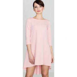 Różowa Asymetryczna Sukienka z Plisami. Różowe sukienki asymetryczne marki numoco, l, z dekoltem w łódkę. Za 145,90 zł.