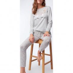 Etam - Bluzka piżamowa Obepine. Szare koszule nocne i halki Etam, z nadrukiem, z bawełny. Za 89,90 zł.