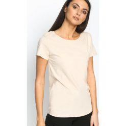 T-shirty damskie: Beżowy T-shirt Essential