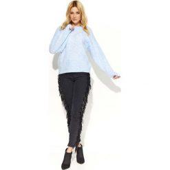 Swetry damskie: Błękitny Sweter Klasyczny Melanżowy z Okrągłym Dekoltem