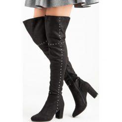 Buty zimowe damskie: CZARNE MUSZKIETERKI NA SŁUPKU