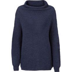 Swetry oversize damskie: Sweter dzianinowy oversize z golfem bonprix ciemnoniebiesko-czarny melanż