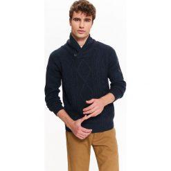 Swetry męskie: SWETER MĘSKI Z SZALOWYM KOŁNIERZEM I PRZEPLOTAMI