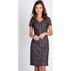 Sukienki: Granatowa sukienka z ażurowym wzorem QUIOSQUE