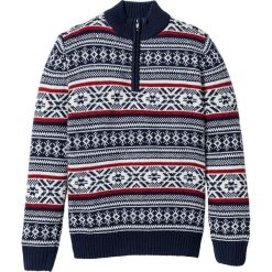 Sweter ze stójką w norweski wzór Regular Fit bonprix ciemnoniebiesko-biel wełny - ciemnoczerwony wzorzysty. Niebieskie golfy męskie bonprix, l, z wełny. Za 109,99 zł.