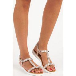 Płaskie sandały z dżetami MERG żółte. Białe sandały damskie marki Merg. Za 49,90 zł.