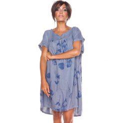 """Sukienki hiszpanki: Lniana sukienka """"Suzy"""" w kolorze szaro-niebieskim"""