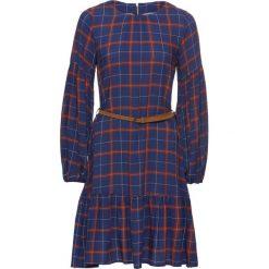 Sukienka w kratę z falbaną bonprix niebiesko-czerwono-biały w kratę. Niebieskie sukienki z falbanami marki bonprix, z okrągłym kołnierzem. Za 129,99 zł.