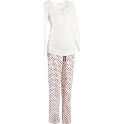 Bielizna ciążowa: Piżama dla karmiących bonprix ecru z nadrukiem