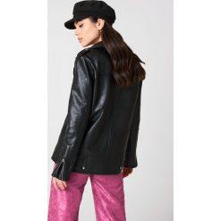 NA-KD Oversizowa kurtka z syntetycznej skóry - Black. Niebieskie kurtki damskie marki NA-KD, z satyny. Za 404,95 zł.