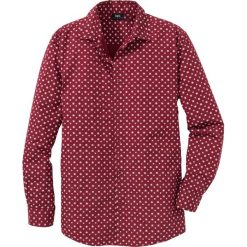 Koszula z długim rękawem, w delikatny deseń Regular Fit bonprix ciemnoczerwony. Białe koszule męskie marki bonprix, z klasycznym kołnierzykiem, z długim rękawem. Za 89,99 zł.