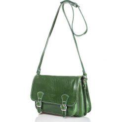 Torebki klasyczne damskie: Skórzana torebka w kolorze zielonym – 26,5 x 19 x 8 cm