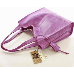 Torebki klasyczne damskie: MARGOT Modna skórzana torba shopperka lavenda