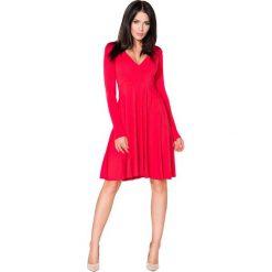 Czerwona Sukienka Rozkloszowana Midi z Dekoltem w Szpic. Czerwone sukienki na komunię Molly.pl, do pracy, l, biznesowe, midi, oversize. Za 139,90 zł.