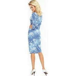 Anika LUŹNA sukienka z marszczeniem - jeans białe KWIATY. Białe sukienki hiszpanki numoco, s, w kwiaty, z jeansu. Za 119,31 zł.
