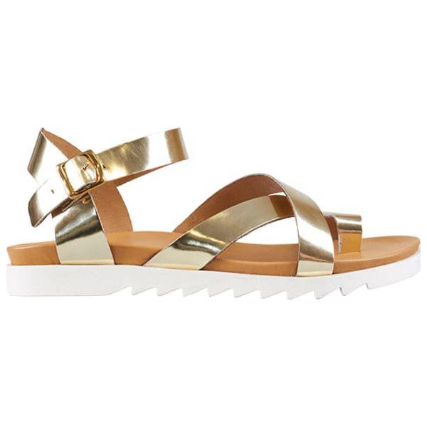 69ed7b20 Skórzane sandały w kolorze złotym - Żółte sandały damskie Clarks ...