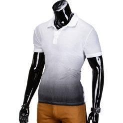 KOSZULKA MĘSKA POLO BEZ NADRUKU S834 - BIAŁA/CZARNA. Białe koszulki polo Ombre Clothing, m, z nadrukiem. Za 29,00 zł.
