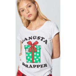 Koszulka świąteczna - Biały. Białe t-shirty damskie marki Cropp, l. Za 39,99 zł.