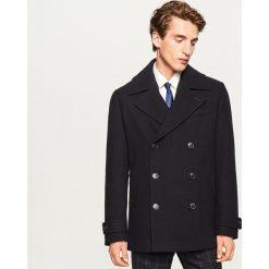Krótki płaszcz z wełną - Granatowy. Niebieskie płaszcze na zamek męskie marki Reserved, m, z wełny. Za 279,99 zł.