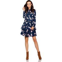 Klasyczna koszulowa sukienka granatowy w kwiatki. Niebieskie sukienki balowe marki numoco, na imprezę, s, w kwiaty, z jeansu, sportowe. Za 249,90 zł.