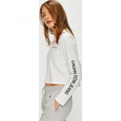 Calvin Klein Jeans - Bluzka. Szare bluzki asymetryczne Calvin Klein Jeans, l, z nadrukiem, z bawełny, z okrągłym kołnierzem. Za 229,90 zł.