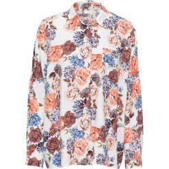 Must have: bluzka koszulowa z nadrukiem bonprix biały w kwiaty. Białe bluzki asymetryczne bonprix, w kwiaty, z koszulowym kołnierzykiem. Za 37,99 zł.