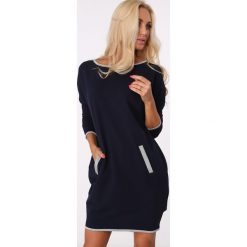 Sukienka skrzyżowana na plecach granatowa / silver 1656. Szare sukienki na komunię Fasardi, l, z dekoltem na plecach. Za 69,00 zł.