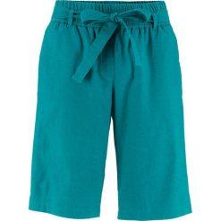 Krótkie spodenki lniane bonprix kobaltowo-turkusowy. Niebieskie bermudy damskie bonprix. Za 59,99 zł.