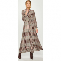 Answear - Sukienka. Szare długie sukienki marki ANSWEAR, na co dzień, l, w paski, z poliesteru, casualowe, rozkloszowane. Za 169,90 zł.