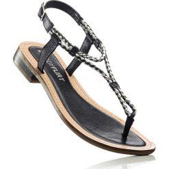 Sandały skórzane bonprix czarny. Czarne rzymianki damskie bonprix. Za 99,99 zł.